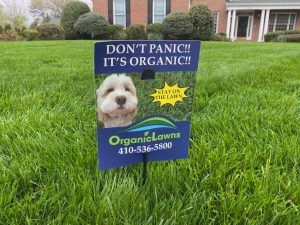 Organic Lawns sign in a front yard.